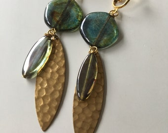 Boho Invisible Clip On Earrings Pine Green and Gold Long Dangle Non-pierced Tribal Festival