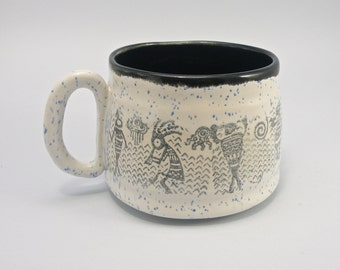huge mug 28 oz mug  tea mug  beer mug Stoneware tribal design food safe lead free Glaze