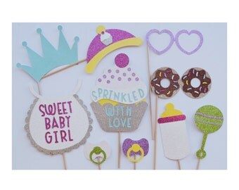 Sprinkled with Love Baby Shower Photo Booth Props ; Cupcake Photo Booth Props ; Baby Sprinkle Photo Booth Props ; Baby Sprinkle Decorations