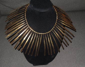 Stunning Vintage Avant Garde Bib Collar Necklace , Statement Collar Gilt Finish