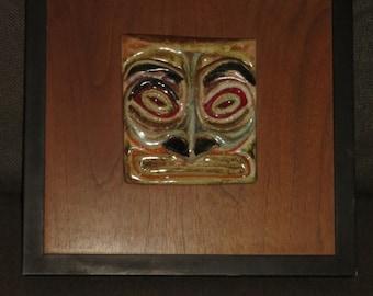 Vintage Mid Century Design Ceramic Wall Art on Teak , West Coast Native Inspired