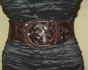 Vintage Dark Brown Leather Elastic Cinch Belt