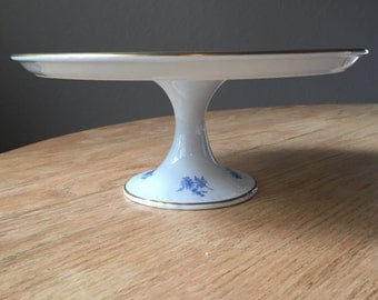 French Vintage Blue and White Cake Stand Blue and White Porcelaine De France Hand Painted Cake Platter Plate Pedestal