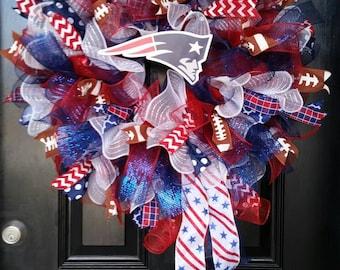Large Mesh Wreath New England Patriots Football Red White Blue Burlap Ribbon