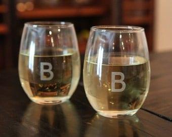 Custom Monogram Etched Stemless White Wine Glasses Set of 4