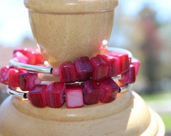 """Twisted bracelet """"Red shell"""", 4 ranks"""