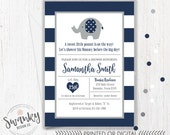 Elephant Baby Shower Invitation Boy, Blue and Gray Elephant Invitation, Navy Blue Stripes, Elephant Baby Shower, Baby Boy Elephant Shower