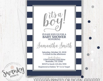 Navy and Gray Baby Shower Invitations, Boy Baby Shower Invitation, It's a Boy, Navy and Gray Invitation, Navy Stripe Baby Shower Invitation