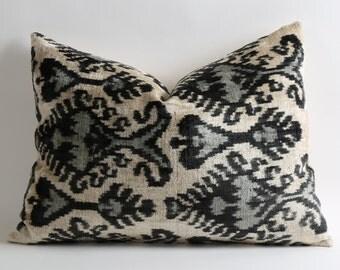 Black Gray Ikat Pillow Cover Soft Handwoven Silk Velvet Decorative Throw Black Grey White Ikat Pillow Cover Bohemian Home Decor Cushion