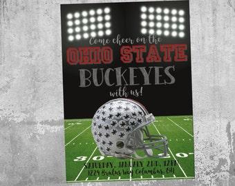 Ohio State Buckeyes Invitation, Football Party Invitation, Football Watch Party Invitation, Printable