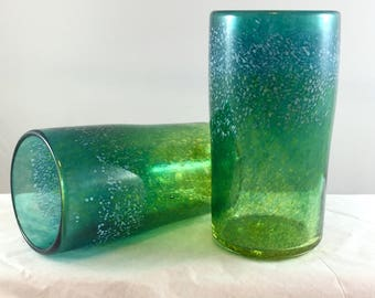 Handblown Glass Tumblers - Lime Green and Lagoon
