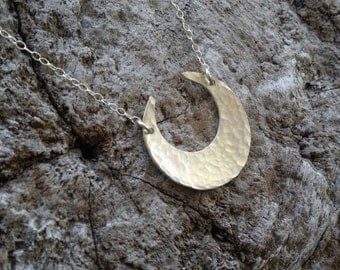 Large Sterling Moon Necklace, Crescent Moon, Sterling Silver Necklace, Silver Moon, Hammered, Moon Necklace, Chunky Necklace