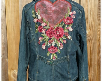 XL Embellished Jacket Coat * ROSE HEART* Boho