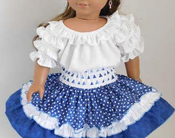 Navy Blue Ruffled Party Skirt for 14 or 18 inch Girl Dolls, American Made frilly cowgirl outfit, Mexican Fiesta, western square dance skirt