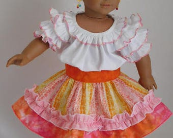 "Ruffled Party Skirt and Frilly Blouse for 14-18"" Girl Dolls, American Made western square dance, Mexican Fiesta, cowgirl outfit"