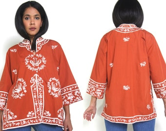 Vintage 60s Filipino Asian Orange Rust White Embroidered Floral Butterfly Bell Sleeve Shirt Tunic Hippie
