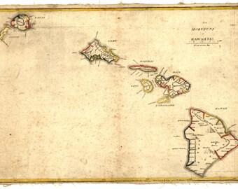 Map of Hawaii, Hawaiian Islands, 1837, 1800's,  Photo Print