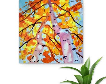 BIRCH TREES SKY -  Original Oil Painting, Abstract, Nature, Modern Art by Tetiana