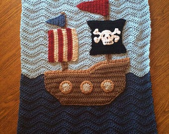 Perfect Baby Boy Blanket Throw - Pirate Ship Ripple Granny Square Afghan