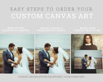 Wedding photography print, gallery wrapped print, wedding photo art, Your photo and text canvas print, custom photography portrait