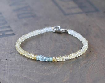 Citrine & Moss Aquamarine Bracelet, Yellow Green Blue Gemstone Crystal Bracelet, Sterling Silver or Gold Filled Delicate Citrine Bracelet