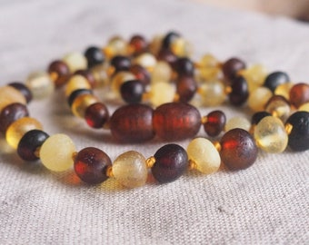 RAW  Baltic Amber Teething Necklace for your Baby multicolored amber
