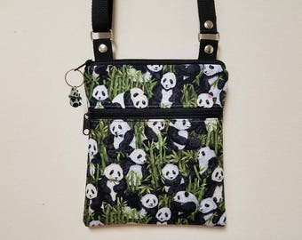 "Panda Bear Crossbody Purse, Panda Shoulder Purse, Small Panda Purse, Lined Zipper Pocket, 68"" Adjustable Shoulder Strap, Nylon Lining."