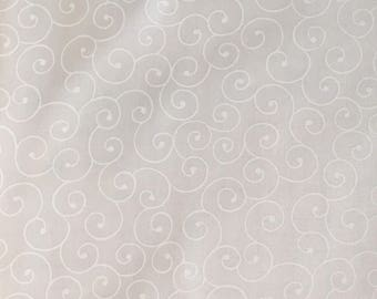 White on white fabric by the yard - tone on tone fabric - white swirl fabric - white floral fabric #17071
