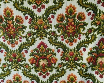 Two Cotton Curtain Panels French Vintage Retro 1950s Regency Style Red Green 1950s