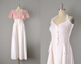30s Dress // 1930s White Cotton Piqué Halter Dress w/ Matching Bolero  // Small