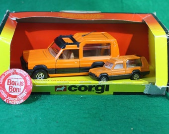 Vintage 1981 Made in England Corgi Talbot Matra Rancho 1355 with Bonus Corgi Junior Boni with original box.