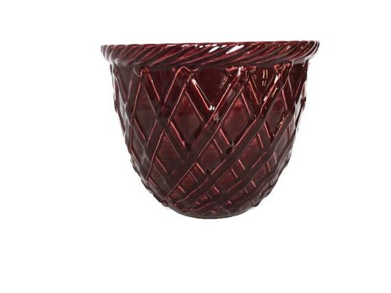Haeger planter burgundy indoor garden vintage weave texture pottery