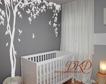 Nursery wall decals Tree birds wall decal wedding decal office mural vinyl decal-Spring Tree with vines-DK279