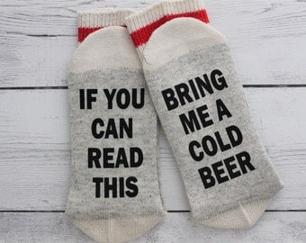 Beer Socks, Stocking stuffer, beer drinker, Beer, beer socks for men, If you can read this, Bring me a beer, Birthday, gift, Beer me, beer