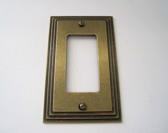 Vintage Switch Plate Cover American Tack & Howe Gold Brass, Metal Single Switchplate, Vintage Lighting