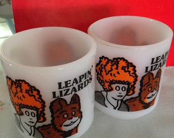 Glasbake Set of Two (2) Little Orphan Annie Coffee Mugs