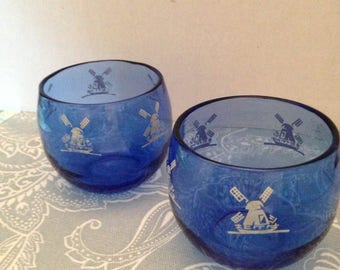 Charming Set of Cobalt Blue Glass Votive Cups with Dutch Windmill Decorations Set of Two (2)