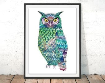 Turquoise Eagle Owl Art Print, Turquoise Blue Owl Illustration Wall Art, Barn Owl Home Decor, Green Art Painting by Sophia Shaw