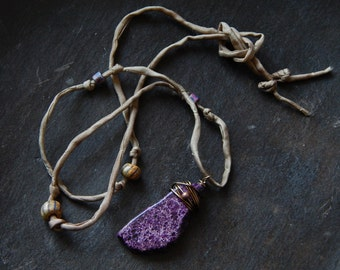 Silk Ribbon Necklace, Purple Imperial Jasper Necklace, Wire Wrapped Pendant, Hippie Bohemian Style Jewelry, Handcrafted Gypsy Necklace