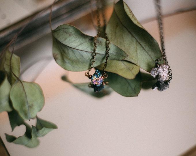 Dainty Druzy Necklace / Simple Silver Druzy Necklace / Minimal Necklace / Modern Jewelry / Silver Druzy Jewelry / Delicate Druzy Necklace