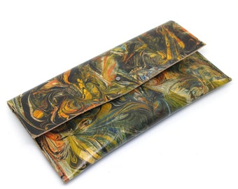 Multicoloured Clutch Bag, Hand Marbled Leather, Hand Stitched Bag, 'Firebird'