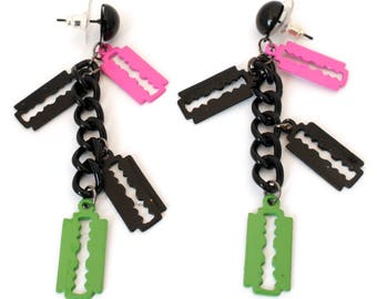 pink and black green earrings