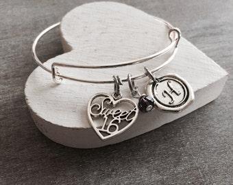 SALE, Sweet 16, Silver Jewelry, Charm Bracelet, Sweet 16 Gift, Sweet 16 Bracelet, Sweet 16 Jewelry, Gifts for, STAINLESS STEEL, Bangle