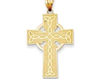 14k solid gold irish cross pendant. celtic cross, irish jewelry