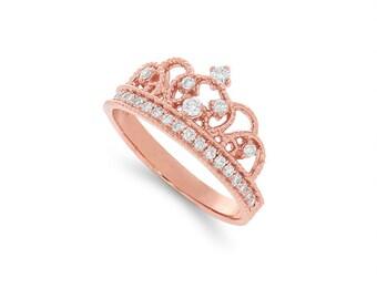 14k solid gold diamond crown ring. .32ct diamond crown ring.