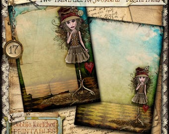 Digitally collaged Journal/Diary printable A4 pages - No.17