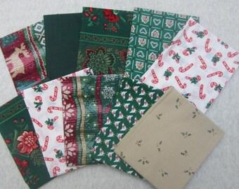 10 Fat Quarter Bundle Pack Vintage Fabrics Christmas Prints Fat Quarter Bundle  Christmas Holiday Fabric