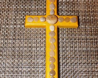 Yellow Wood Cross - Beach Stones - Pebbles - Rocks - Crucifix - Coastal Decor