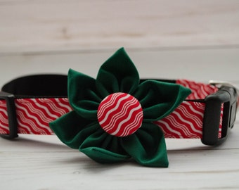 Red Holiday Flower Dog Collar, The Merry