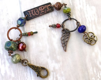 Hope Inspirational Bracelet with Colorful Glass Beads created by Angela Gruenke of Contents Jewelry